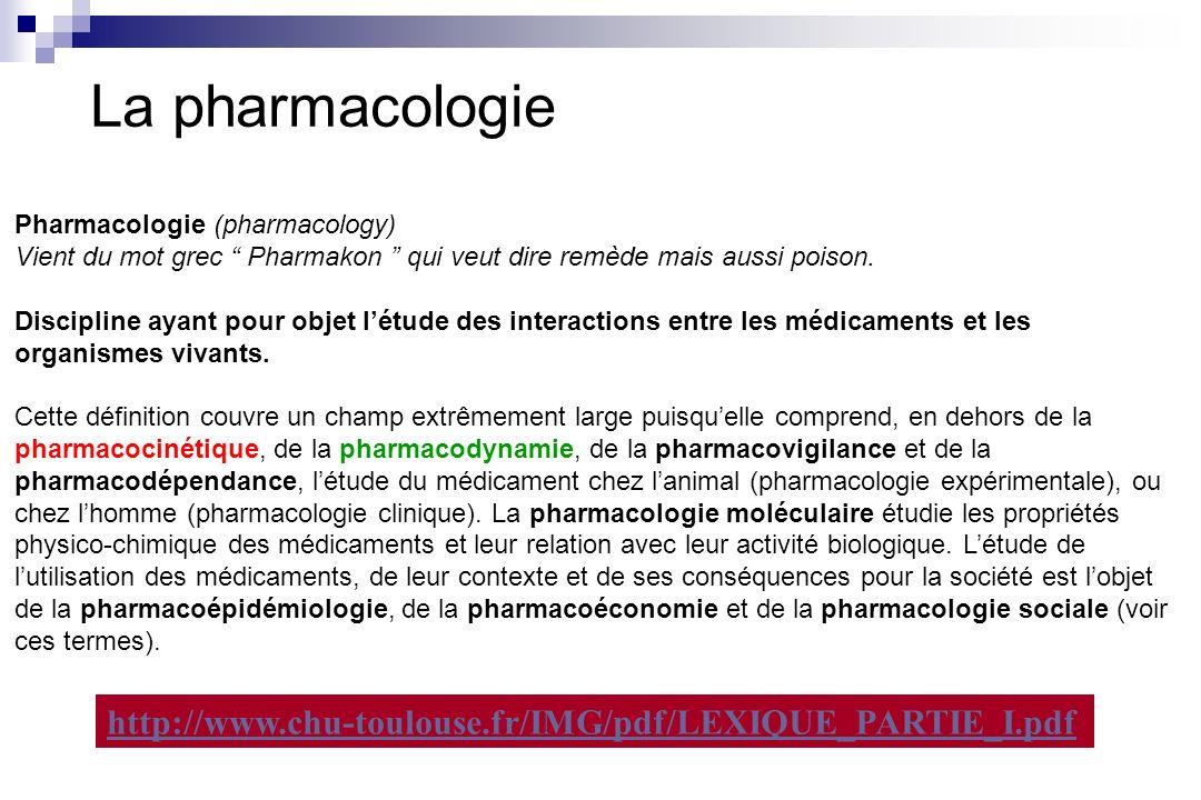 La pharmacologie Pharmacologie (pharmacology) Vient du mot grec Pharmakon qui veut dire remède mais aussi poison. Discipline ayant pour objet létude d