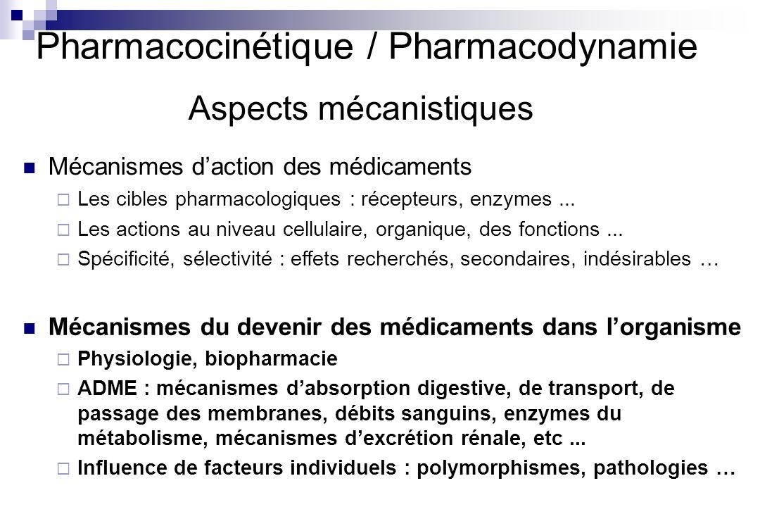 Pharmacocinétique / Pharmacodynamie Aspects mécanistiques Mécanismes daction des médicaments Les cibles pharmacologiques : récepteurs, enzymes... Les