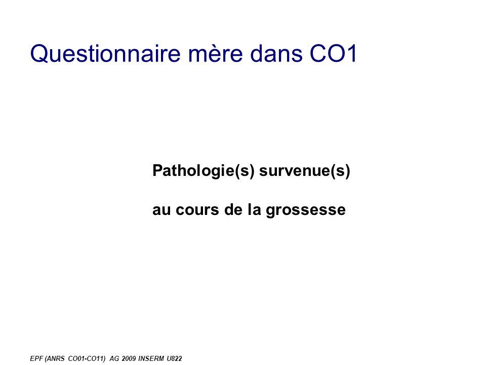 EPF (ANRS CO01-CO11) AG 2009 INSERM U822 Questionnaire mère dans CO1 Pathologie(s) survenue(s) au cours de la grossesse