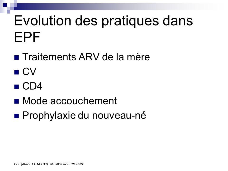 EPF (ANRS CO1-CO11) AG 2008 INSERM U822 Evolution des pratiques dans EPF Traitements ARV de la mère CV CD4 Mode accouchement Prophylaxie du nouveau-né
