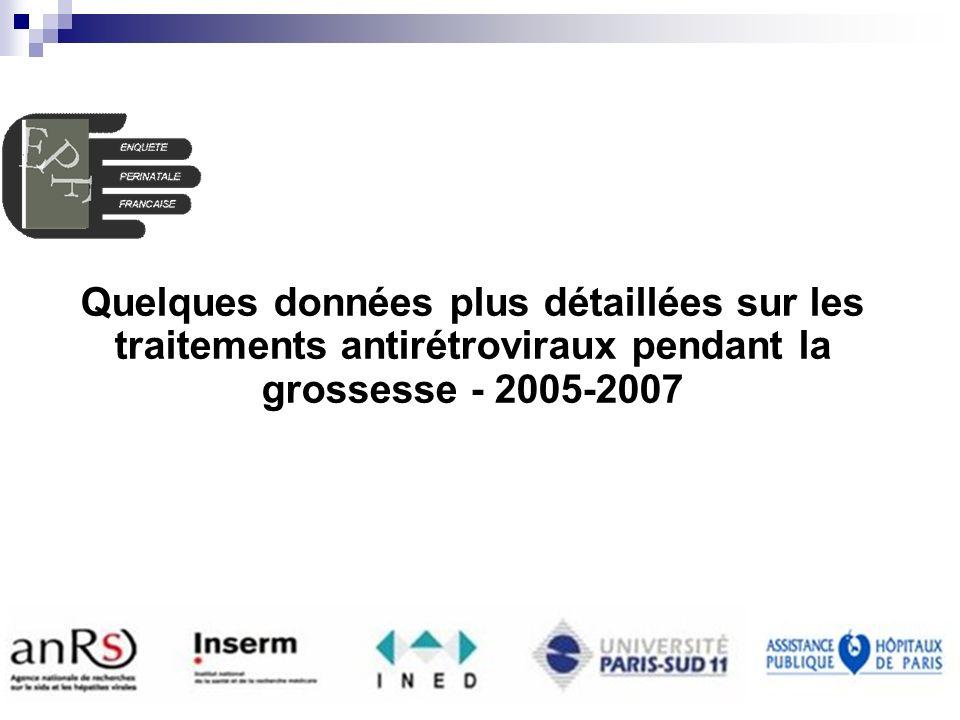 EPF (ANRS CO1-CO11) AG 2008 INSERM U822 Enquête Périnatale Française Quelques données plus détaillées sur les traitements antirétroviraux pendant la grossesse - 2005-2007