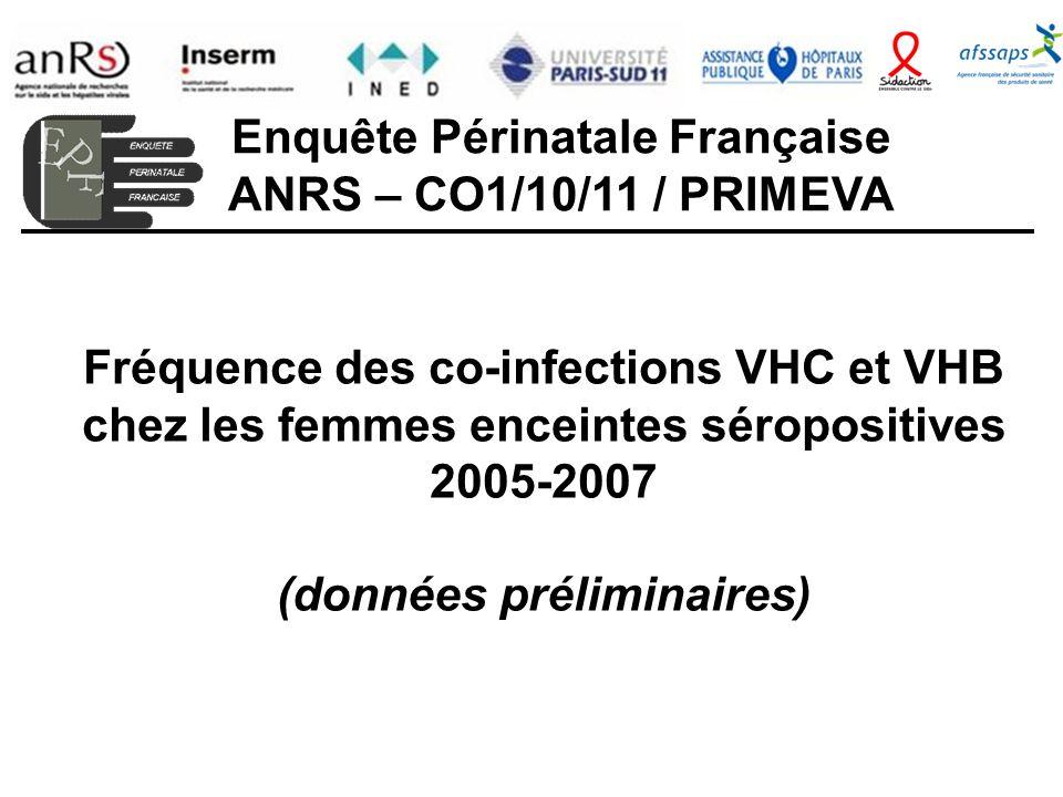 Fréquence des co-infections VHC et VHB chez les femmes enceintes séropositives 2005-2007 (données préliminaires) Enquête Périnatale Française ANRS – CO1/10/11 / PRIMEVA