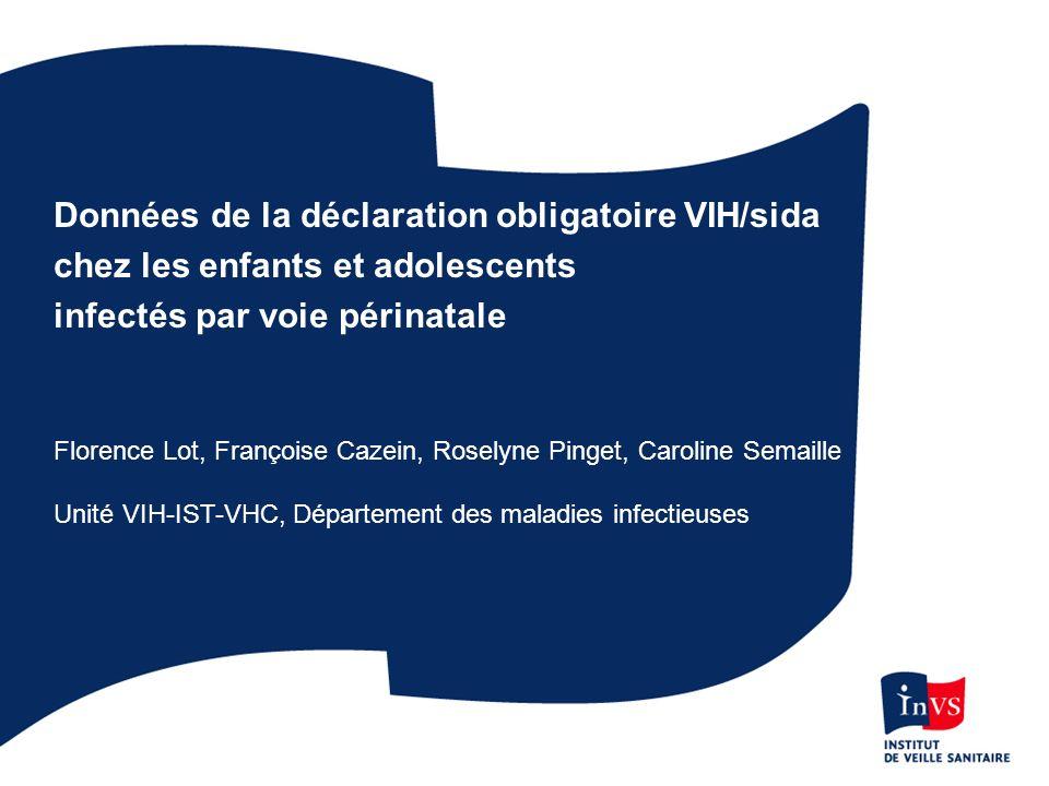 Données de la déclaration obligatoire VIH/sida chez les enfants et adolescents infectés par voie périnatale Florence Lot, Françoise Cazein, Roselyne P