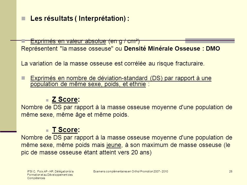 IFSI C. Foix AP - HP, Délégation à la Formation et au Développement des Compétences Examens complémentaires en Ortho/ Promotion 2007 - 201026 Les résu