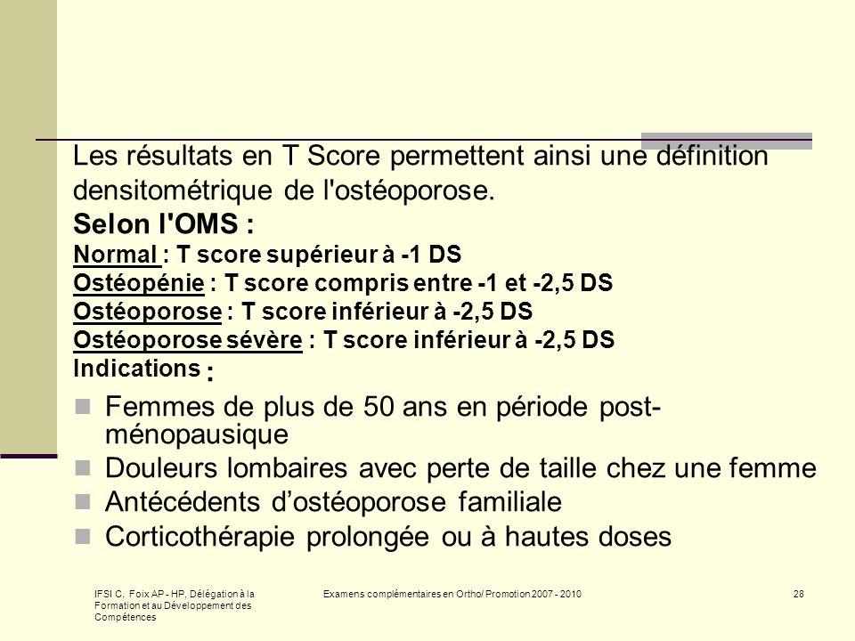 IFSI C. Foix AP - HP, Délégation à la Formation et au Développement des Compétences Examens complémentaires en Ortho/ Promotion 2007 - 201028 Les résu