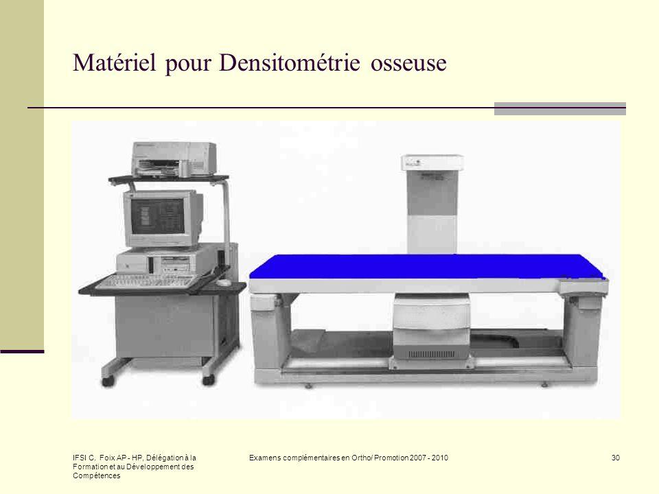 IFSI C. Foix AP - HP, Délégation à la Formation et au Développement des Compétences Examens complémentaires en Ortho/ Promotion 2007 - 201030 Matériel