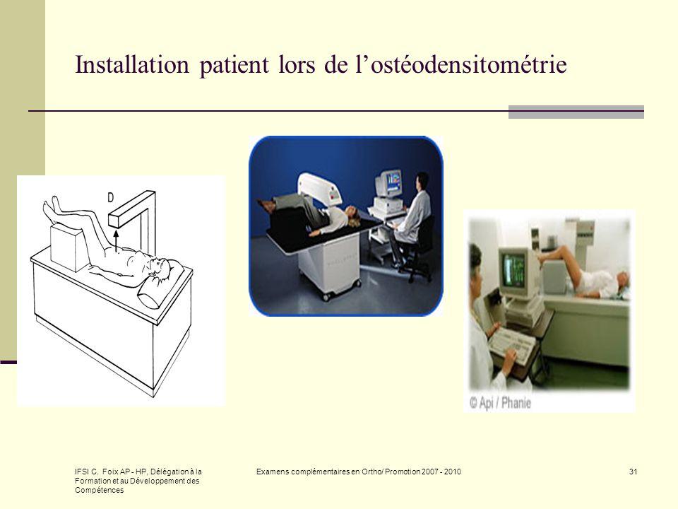 IFSI C. Foix AP - HP, Délégation à la Formation et au Développement des Compétences Examens complémentaires en Ortho/ Promotion 2007 - 201031 Installa