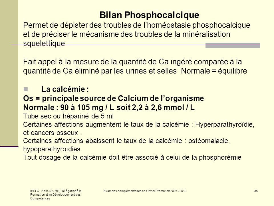 IFSI C. Foix AP - HP, Délégation à la Formation et au Développement des Compétences Examens complémentaires en Ortho/ Promotion 2007 - 201035 Bilan Ph