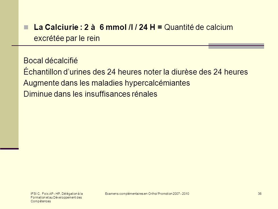 IFSI C. Foix AP - HP, Délégation à la Formation et au Développement des Compétences Examens complémentaires en Ortho/ Promotion 2007 - 201036 La Calci