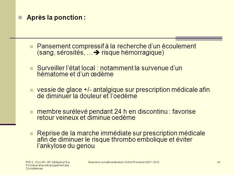 IFSI C. Foix AP - HP, Délégation à la Formation et au Développement des Compétences Examens complémentaires en Ortho/ Promotion 2007 - 201044 Après la