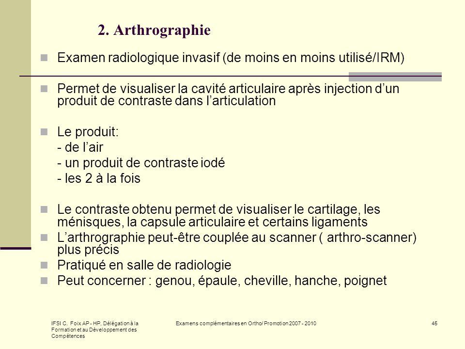 IFSI C. Foix AP - HP, Délégation à la Formation et au Développement des Compétences Examens complémentaires en Ortho/ Promotion 2007 - 201045 2. Arthr