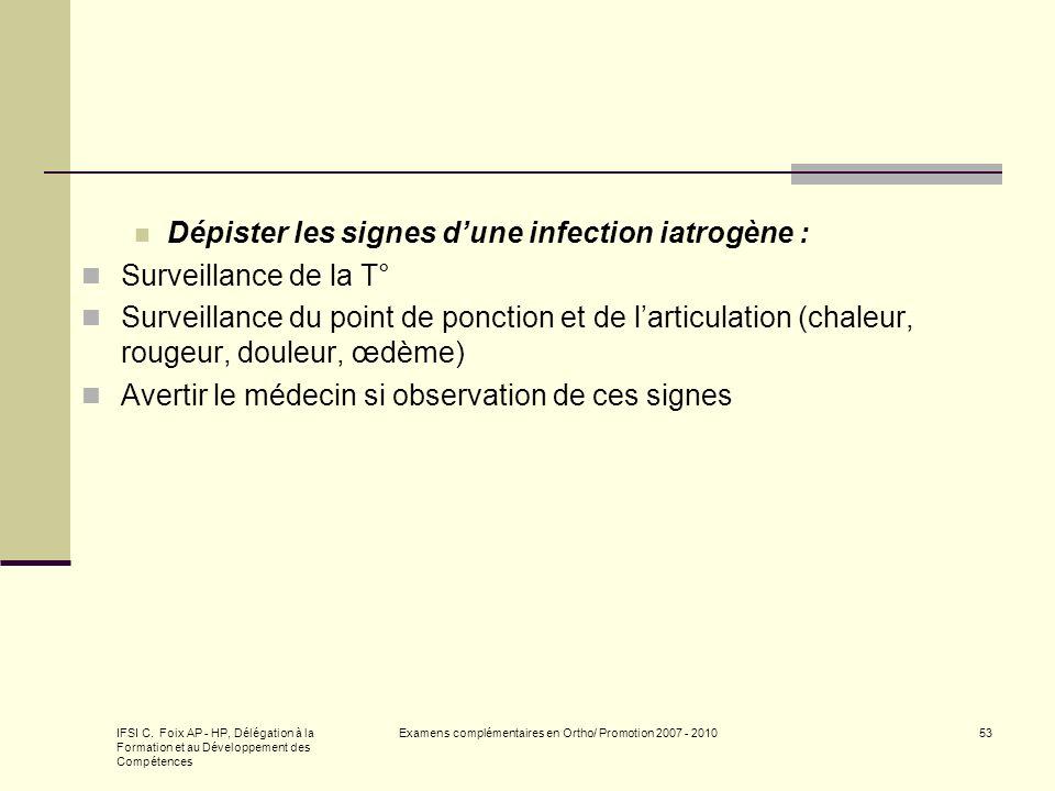IFSI C. Foix AP - HP, Délégation à la Formation et au Développement des Compétences Examens complémentaires en Ortho/ Promotion 2007 - 201053 Dépister