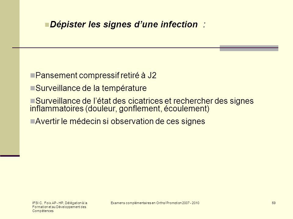 IFSI C. Foix AP - HP, Délégation à la Formation et au Développement des Compétences Examens complémentaires en Ortho/ Promotion 2007 - 201059 Dépister