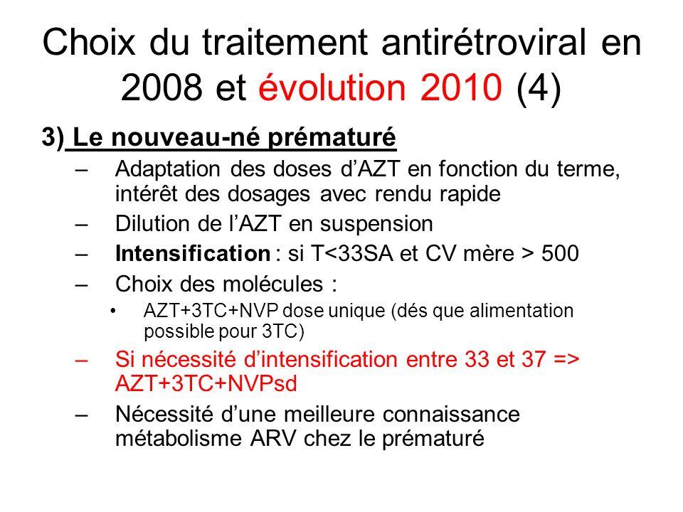 Choix du traitement antirétroviral en 2008 et évolution 2010 (4) 3) Le nouveau-né prématuré –Adaptation des doses dAZT en fonction du terme, intérêt d