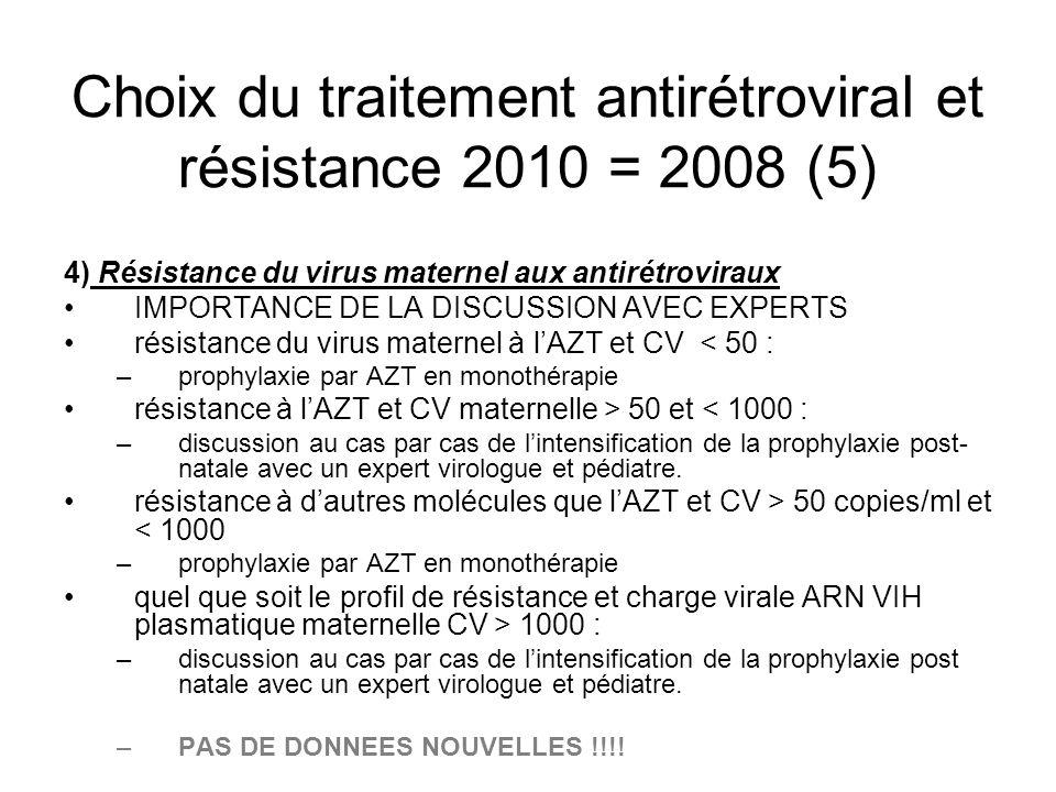 Choix du traitement antirétroviral et résistance 2010 = 2008 (5) 4) Résistance du virus maternel aux antirétroviraux IMPORTANCE DE LA DISCUSSION AVEC