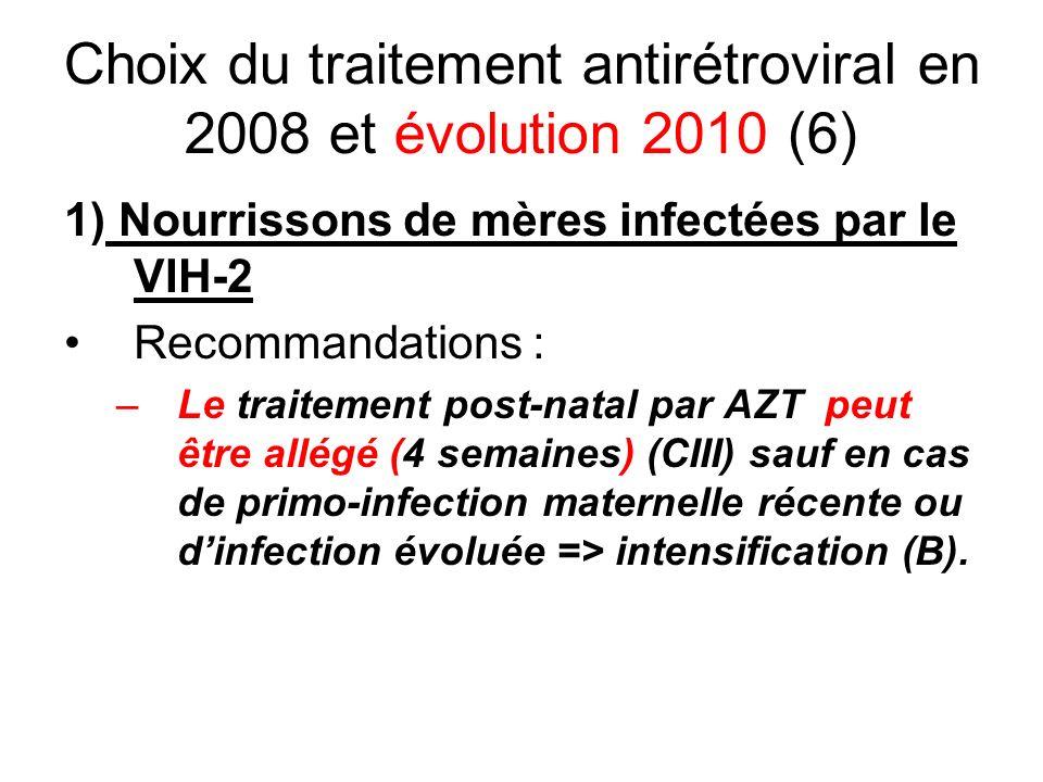 Choix du traitement antirétroviral en 2008 et évolution 2010 (6) 1) Nourrissons de mères infectées par le VIH-2 Recommandations : –Le traitement post-