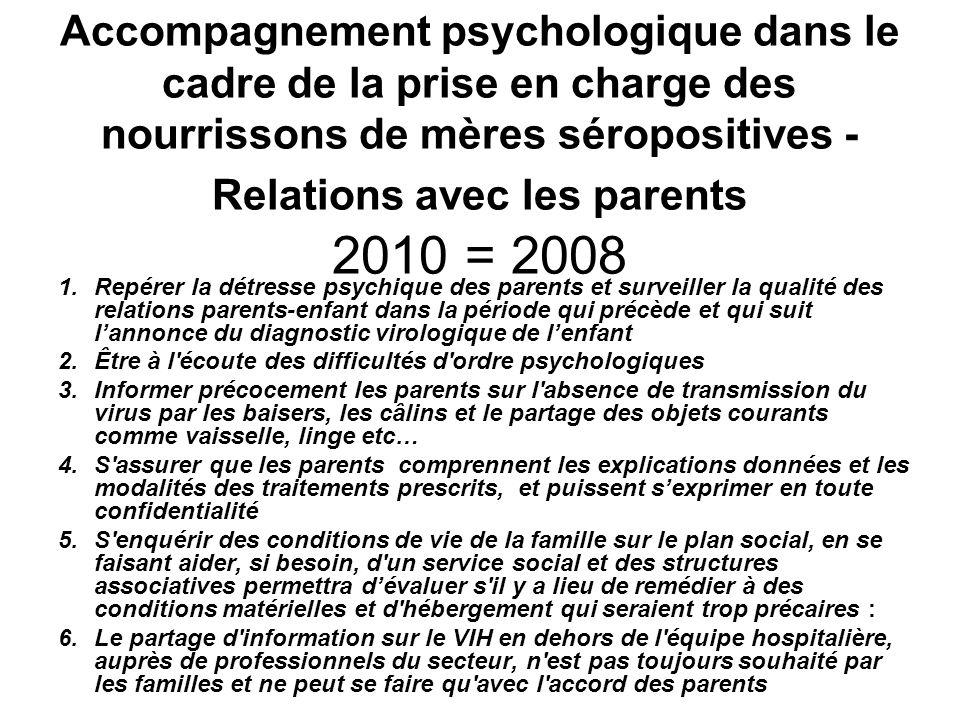 Accompagnement psychologique dans le cadre de la prise en charge des nourrissons de mères séropositives - Relations avec les parents 2010 = 2008 1.Rep