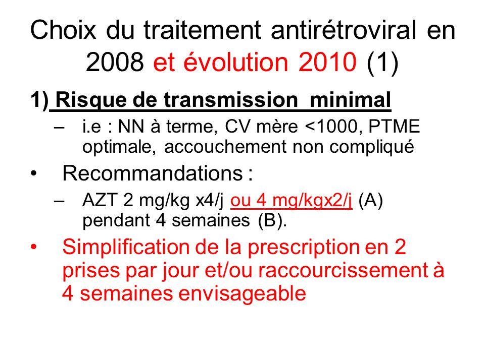Choix du traitement antirétroviral en 2008 et évolution 2010 (1) 1) Risque de transmission minimal –i.e : NN à terme, CV mère <1000, PTME optimale, ac