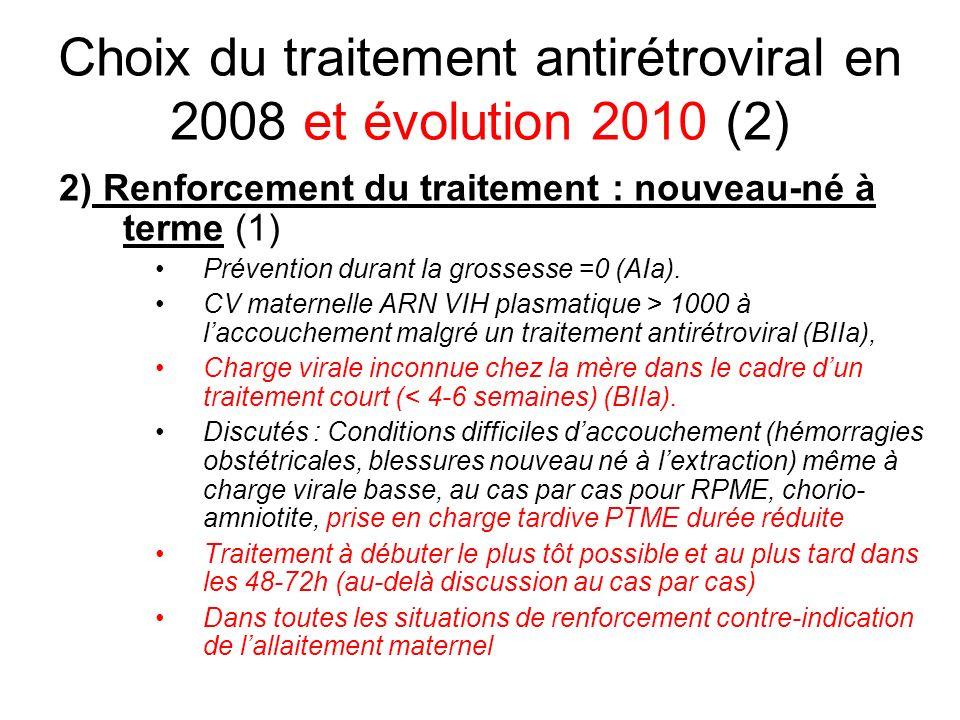 Choix du traitement antirétroviral en 2008 et évolution 2010 (2) 2) Renforcement du traitement : nouveau-né à terme (1) Prévention durant la grossesse
