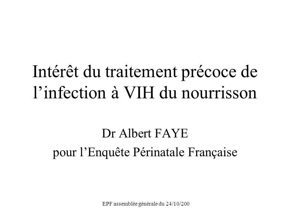 EPF assemblée générale du 24/10/200 Survie sans SIDA : traitement précoce vs traitement différé Traitement précoce (N=40) ……… Traitement différé (N=43) ______ Log-rank =0,01