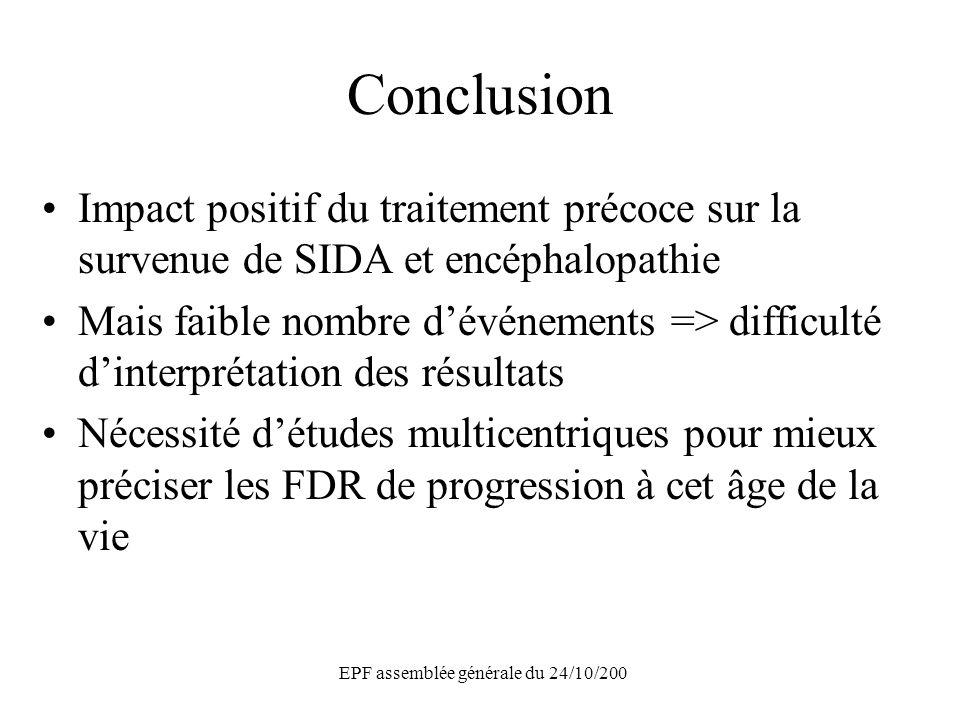 EPF assemblée générale du 24/10/200 Conclusion Impact positif du traitement précoce sur la survenue de SIDA et encéphalopathie Mais faible nombre dévé