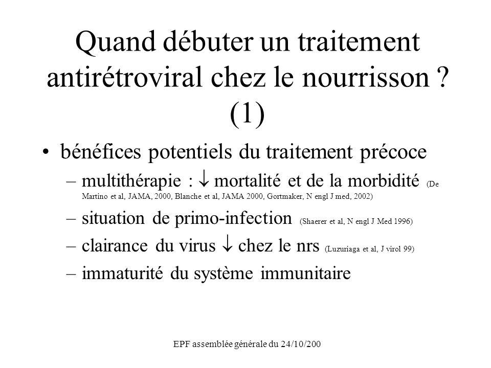 EPF assemblée générale du 24/10/200 Quand débuter un traitement antirétroviral chez le nourrisson ? (1) bénéfices potentiels du traitement précoce –mu