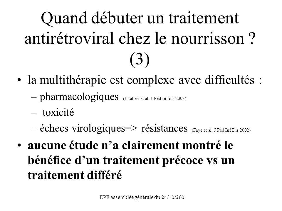 EPF assemblée générale du 24/10/200 la multithérapie est complexe avec difficultés : –pharmacologiques (Litalien et al, J Ped Inf dis 2003) – toxicité