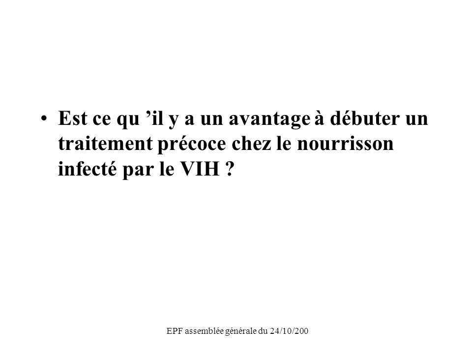 EPF assemblée générale du 24/10/200 Est ce qu il y a un avantage à débuter un traitement précoce chez le nourrisson infecté par le VIH ?