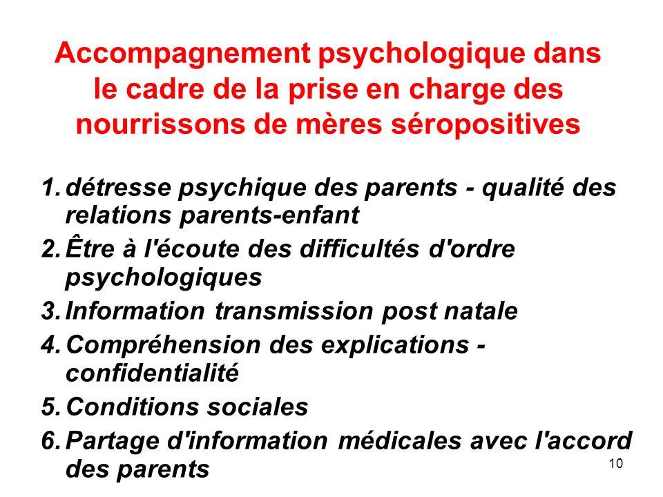 10 Accompagnement psychologique dans le cadre de la prise en charge des nourrissons de mères séropositives 1.détresse psychique des parents - qualité