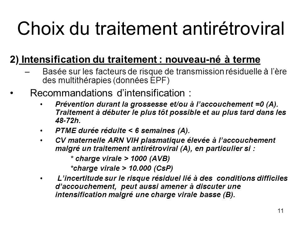 11 Choix du traitement antirétroviral 2) Intensification du traitement : nouveau-né à terme –Basée sur les facteurs de risque de transmission résiduel