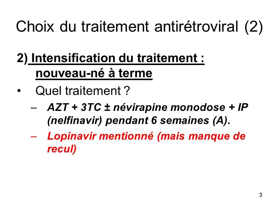 3 Choix du traitement antirétroviral (2) 2) Intensification du traitement : nouveau-né à terme Quel traitement ? –AZT + 3TC ± névirapine monodose + IP