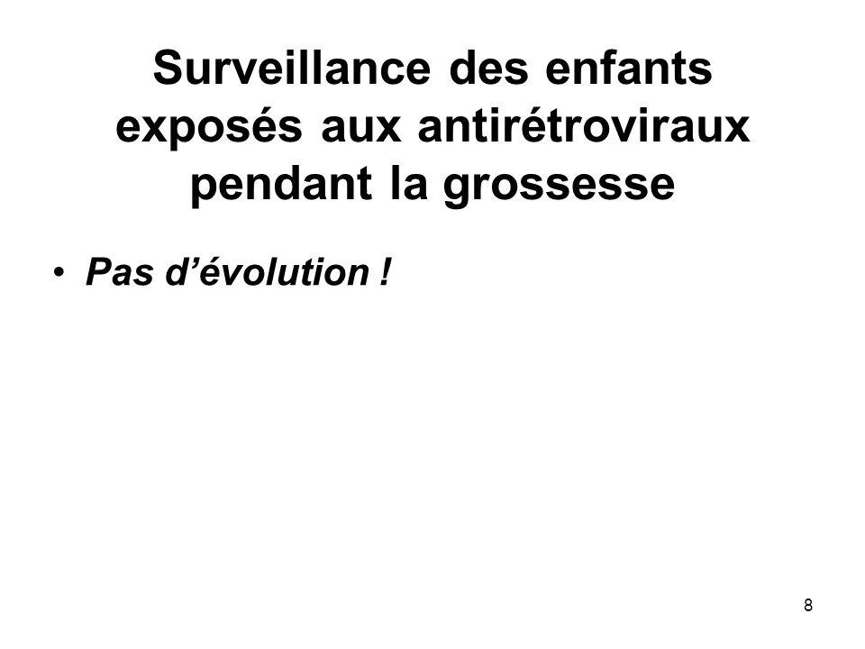8 Surveillance des enfants exposés aux antirétroviraux pendant la grossesse Pas dévolution !