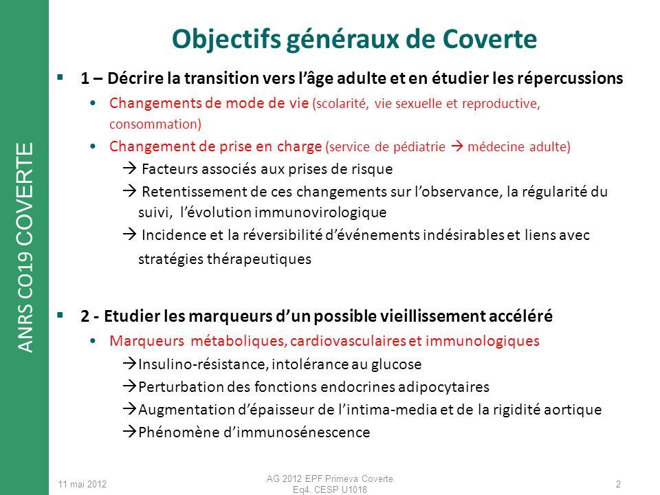 ANRS CO19 COVERTE 11 mai 2012 AG 2012 EPF Primeva Coverte Eq4. CESP U1018 2 Objectifs généraux de Coverte 1 – Décrire la transition vers lâge adulte e