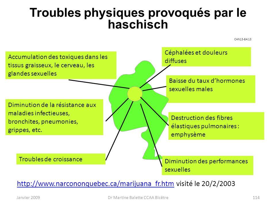 Janvier 2009Dr Martine Balette CCAA Bicêtre114 Troubles physiques provoqués par le haschisch http://www.narcononquebec.ca/marijuana_fr.htmhttp://www.n