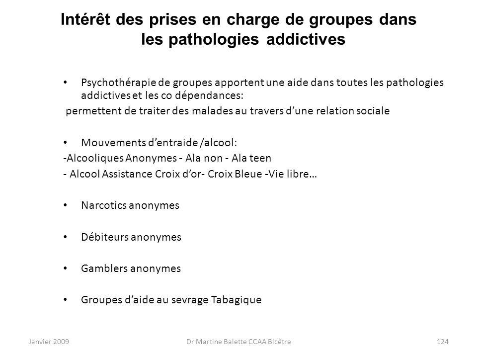 Janvier 2009Dr Martine Balette CCAA Bicêtre124 Intérêt des prises en charge de groupes dans les pathologies addictives Psychothérapie de groupes appor