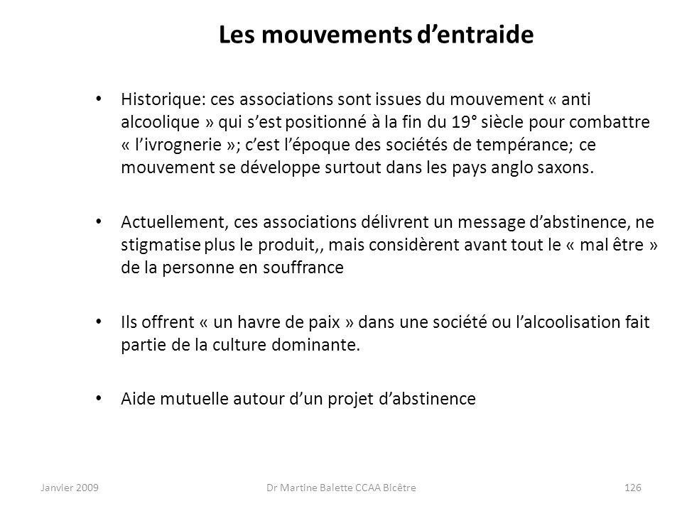 Janvier 2009Dr Martine Balette CCAA Bicêtre126 Les mouvements dentraide Historique: ces associations sont issues du mouvement « anti alcoolique » qui