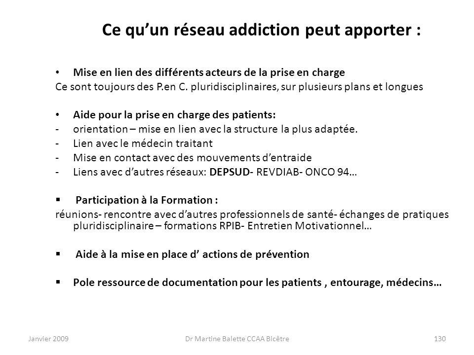 Janvier 2009Dr Martine Balette CCAA Bicêtre130 Ce quun réseau addiction peut apporter : Mise en lien des différents acteurs de la prise en charge Ce s