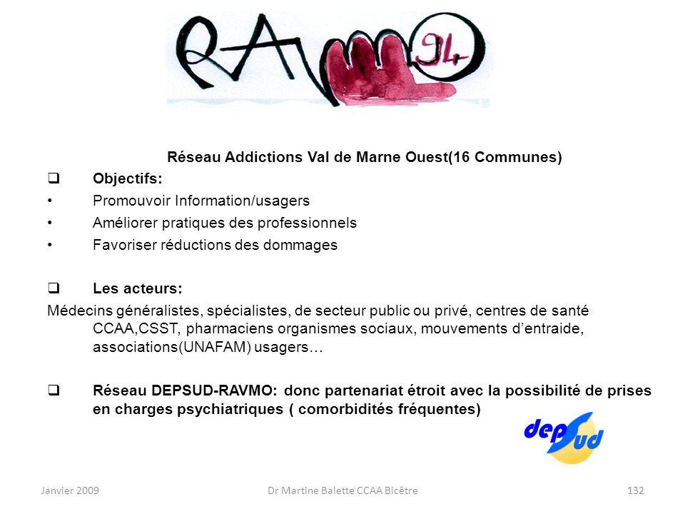 Janvier 2009Dr Martine Balette CCAA Bicêtre132 Réseau Addictions Val de Marne Ouest(16 Communes) Objectifs: Promouvoir Information/usagers Améliorer p