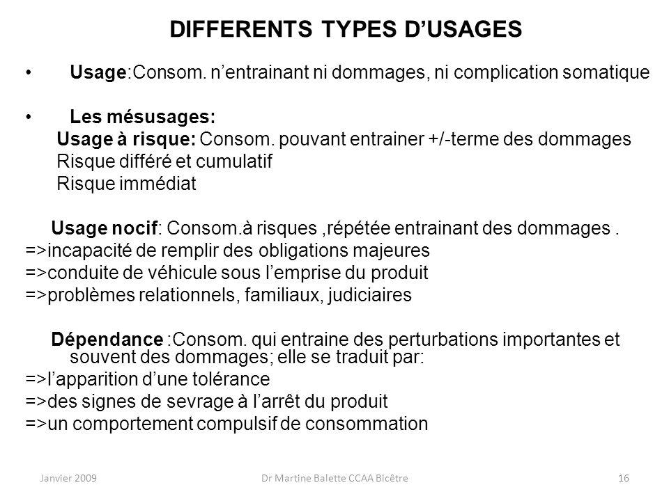 Janvier 2009Dr Martine Balette CCAA Bicêtre16 DIFFERENTS TYPES DUSAGES Usage:Consom. nentrainant ni dommages, ni complication somatique Les mésusages: