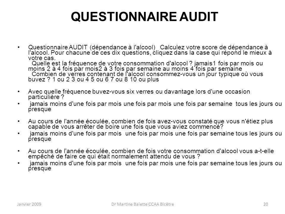 Janvier 2009Dr Martine Balette CCAA Bicêtre20 QUESTIONNAIRE AUDIT Questionnaire AUDIT (dépendance à l'alcool) Calculez votre score de dépendance à l'a