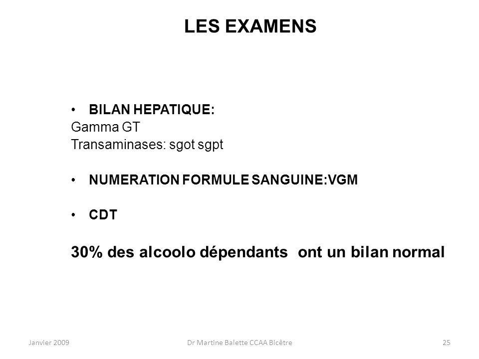 Janvier 2009Dr Martine Balette CCAA Bicêtre25 LES EXAMENS BILAN HEPATIQUE: Gamma GT Transaminases: sgot sgpt NUMERATION FORMULE SANGUINE:VGM CDT 30% d
