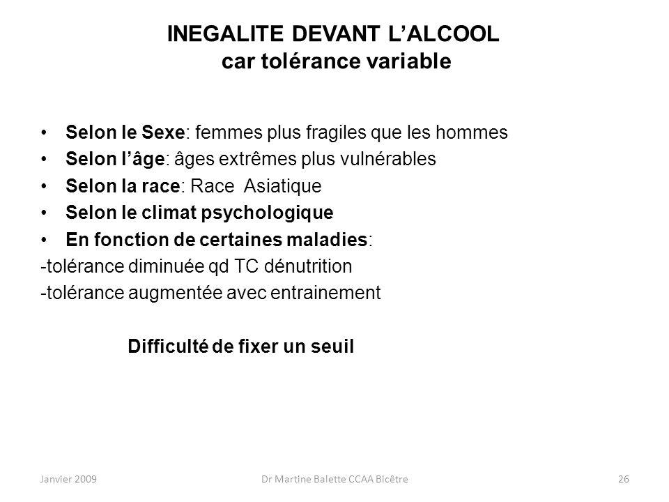 Janvier 2009Dr Martine Balette CCAA Bicêtre26 INEGALITE DEVANT LALCOOL car tolérance variable Selon le Sexe: femmes plus fragiles que les hommes Selon