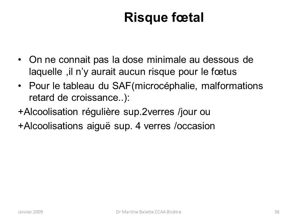 Janvier 2009Dr Martine Balette CCAA Bicêtre36 Risque fœtal On ne connait pas la dose minimale au dessous de laquelle,il ny aurait aucun risque pour le