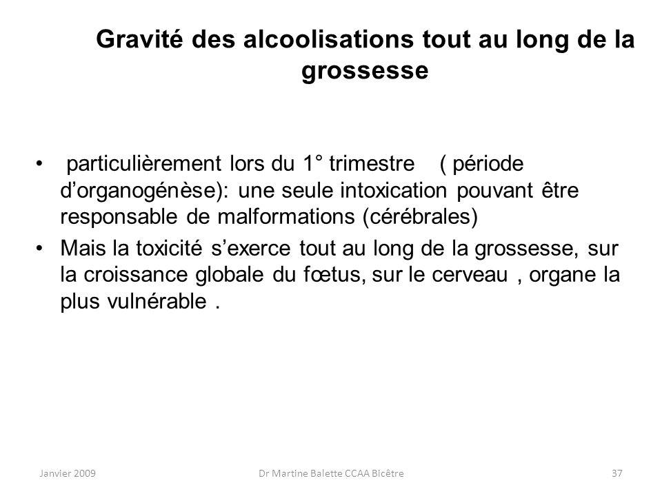 Janvier 2009Dr Martine Balette CCAA Bicêtre37 Gravité des alcoolisations tout au long de la grossesse particulièrement lors du 1° trimestre ( période
