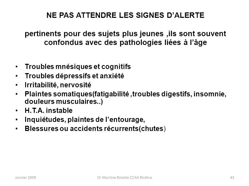 Janvier 2009Dr Martine Balette CCAA Bicêtre43 NE PAS ATTENDRE LES SIGNES DALERTE pertinents pour des sujets plus jeunes,ils sont souvent confondus ave