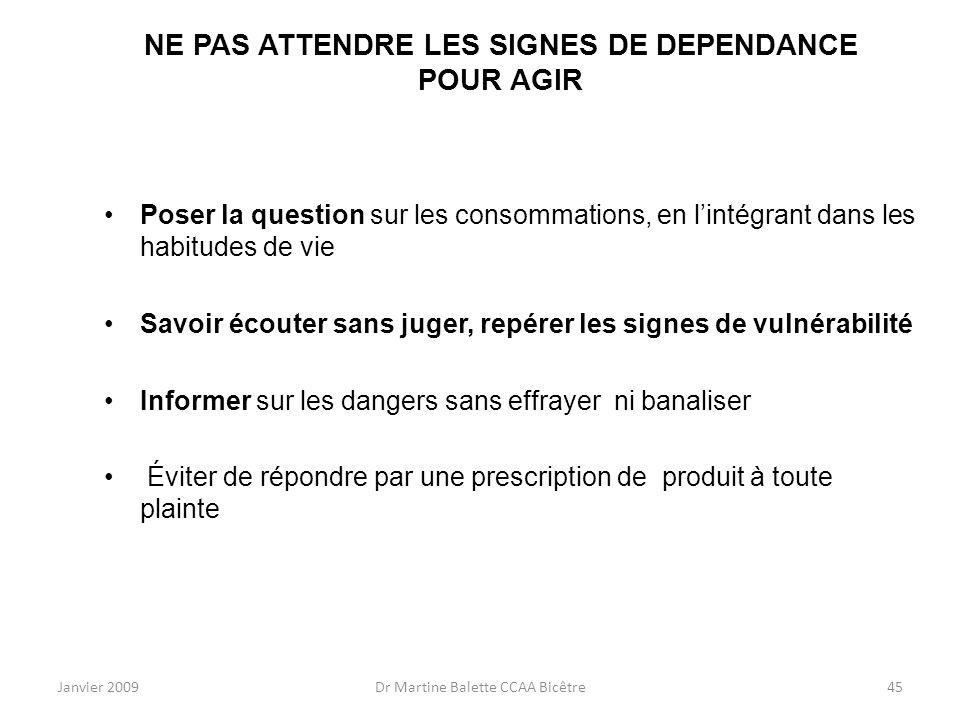 Janvier 2009Dr Martine Balette CCAA Bicêtre45 NE PAS ATTENDRE LES SIGNES DE DEPENDANCE POUR AGIR Poser la question sur les consommations, en lintégran