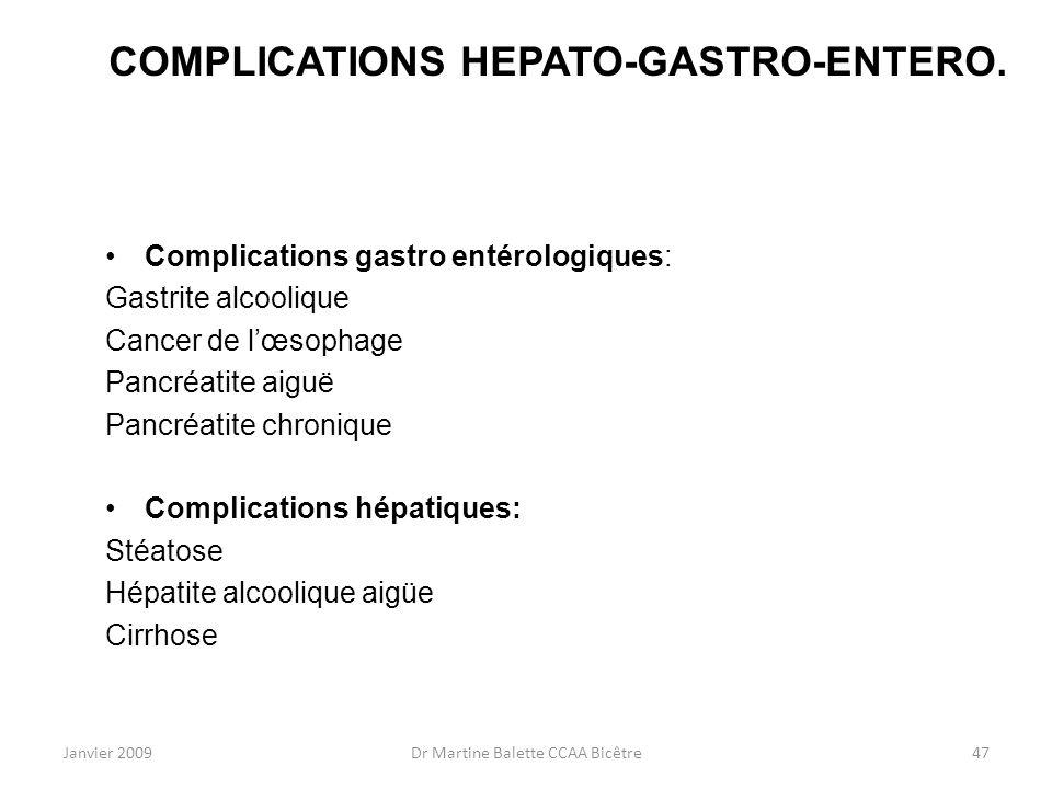 Janvier 2009Dr Martine Balette CCAA Bicêtre47 COMPLICATIONS HEPATO-GASTRO-ENTERO. Complications gastro entérologiques: Gastrite alcoolique Cancer de l