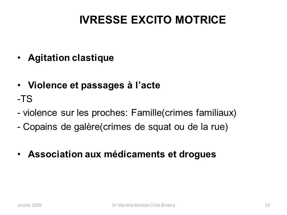 Janvier 2009Dr Martine Balette CCAA Bicêtre53 IVRESSE EXCITO MOTRICE Agitation clastique Violence et passages à lacte -TS - violence sur les proches: