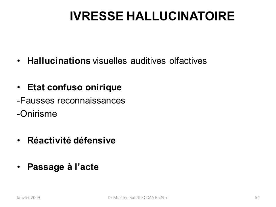 Janvier 2009Dr Martine Balette CCAA Bicêtre54 IVRESSE HALLUCINATOIRE Hallucinations visuelles auditives olfactives Etat confuso onirique -Fausses reco