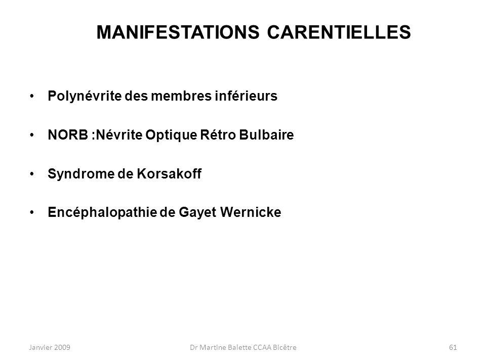 Janvier 2009Dr Martine Balette CCAA Bicêtre61 MANIFESTATIONS CARENTIELLES Polynévrite des membres inférieurs NORB :Névrite Optique Rétro Bulbaire Synd